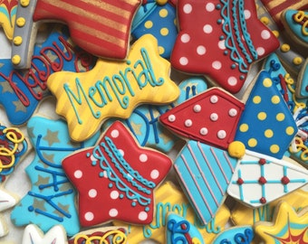Fourth of July/ Memorial Day Decorated Sugar Cookies-1 dozen