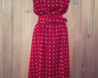 Red polka dot dress - Etsy