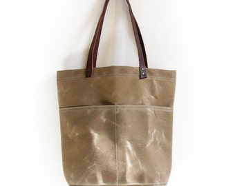Sage Waxed Canvas Tote Bag with Leather Straps and Two Front Pockets
