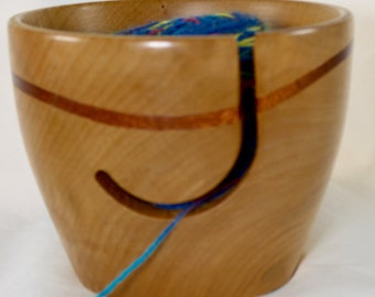 804 Yarn bowl, made from figured Hard Maple with a Walnut wave