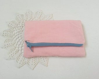 Rose pink pouch, pink pencil case, pink zipper purse, pink coin purse, pink linen pouch, linen pencil case, linen zipper pouch, makeup pouch
