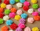 CLOSEOUT - 40 pc. Multi-Colored Crisp Petal Rose Cabochons 10mm - RES-025