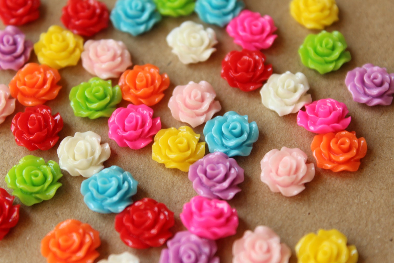 Closeout 40 pc multi colored crisp petal rose cabochons for Multi colored rose petals