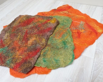 Felted sheets pre-felts prefelts natural wool green yellow hand pink purple orange brown with silk bamboo banana flax fiber handmade
