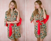 The Spice Route. One lined Angel Sleeve kimono robe or dressing gown with pockets. Art Deco robe Bohemian robe Long Womens robe