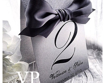 Wedding Table numbers, silver table numbers, silver table number with black bow, black tie wedding decor