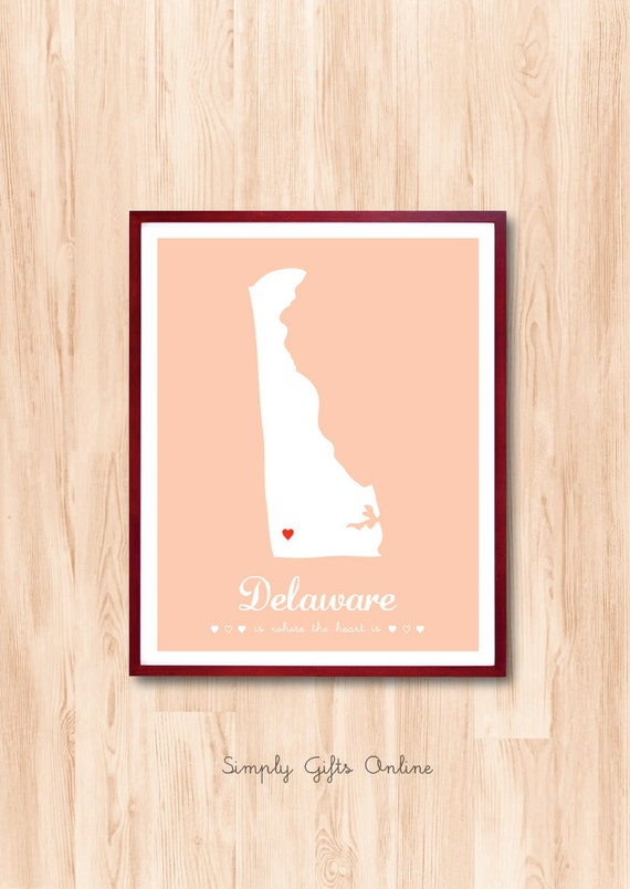 DELAWARE map, US State Map, Custom State map, Personalized map, Home Sweet Home Wall Art Kids room Children room art Baby nursery room