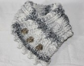Custom Order for Den  - Knit Cowl with matching Headband, Color Grey Marble, Heart Buttons