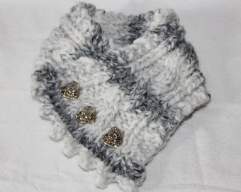 Knit Cowl, Fishermans Wife Cowl, Chunky Cowl, Cable Knit Scarf, Color Grey Marble, Heart Buttons, Valentines Gift Idea