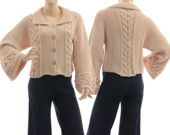 Hand knitted sweater in nude, cabled + textured chunky sweater alpaca mix, knitwear women, sweater small to medium size S-M, US size 8-12