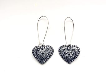Handmade Heart Shape Air-Dry Clay Dangle Earrings