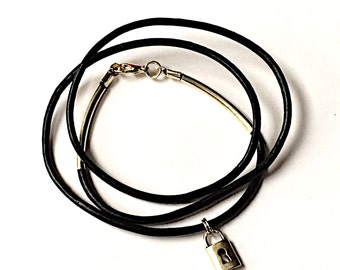 Black leather and silver charm wrap friendship bracelet