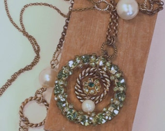 Unique UpCyCleD 50's Brooch Second Time Around Large Pendant Necklace Repurposed Mid Century Green Rhinestones Long Brass Pearl Chain Warren