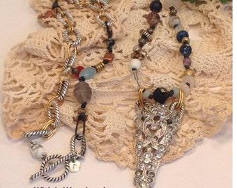 "Long Art Deco Art Nouveau Boho Chic Necklace Vintage Rhinestones,Beads,Gemstones 2Tone Leather 30"" wrap Assemblage Repurposed One of a kind"