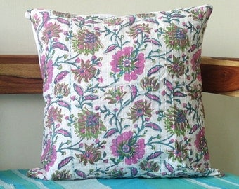 Pink and white Kantha Pillow Spring decor Floral Print on White 16 x 16 inches  kantha cushion covers, girls room Pillow