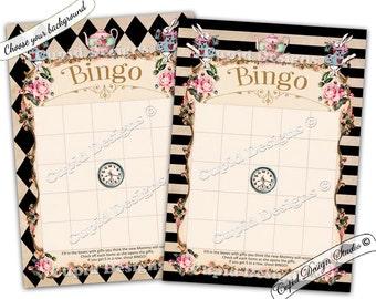 Alice in wonderland games. Baby shower bingo cards. Tea party games. Queen of hearts party. Baby shower games. Baby shower bingo printable.