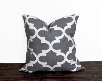 10 Sizes Available - Grey and White Pillow Cover - Neutral Pillow Covers - Cool Gray and White Moroccan Print - Fynn - Trellis - Quatrefoil
