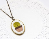 Hand Embroidered Cactus Succulent Necklace | Modern Embroidery Necklace | Fiber Textile Art  | Fabric Cloth Necklace | Minimalist Necklace