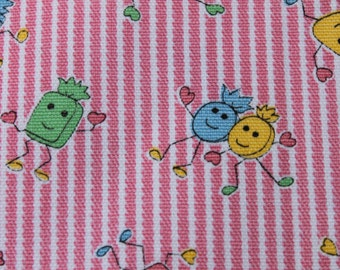Vintage Pink Candy Cotton Fabric, Cute Striped Pastel Fabric, Pink Blue Green yellow,  Craft Sewing Fabric. 1 yard plus