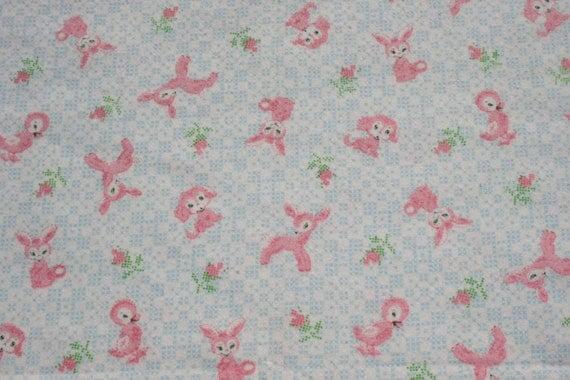Vintage pink baby animal flannel fabric nursery fabric deer for Retro nursery fabric