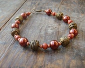 bronze and copper rustic beaded bracelet holiday jewellery