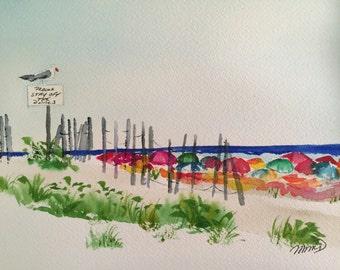 please keep off the dunes 2~original watercolor