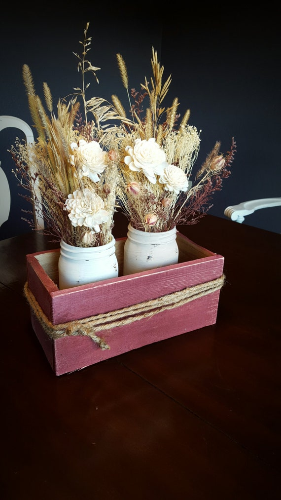 Burgundy box centerpiece ivory cream painted by