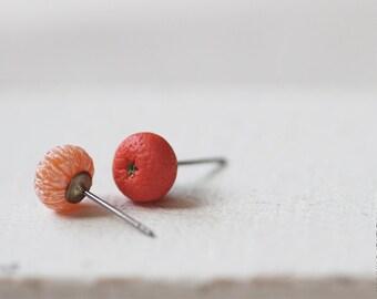 Tiny Mandarin Stud Earrings - Small Ear Studs - Earrings Post - Food Jewelry - Vegan Earrings