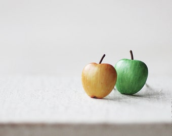 Autumn Apples Stud Earrings - Small Ear Studs - Earrings Post - Food Jewelry - Vegan Earrings - Fruit Earrings - Autumn Jewelry