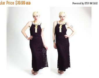 SUMMER SALE 35% OFF 1990s Sheer Purple Lace Gypsy Maxi Dress