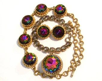 Schiaparelli Demi-Parue Bracelet Earrings and Necklace Set Watermelon