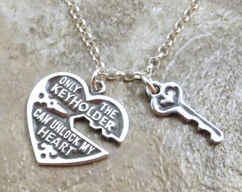 "Sterling Silver Heart and Key Charm on a Sterling Silver  20"" Rolo Necklace- 0179"