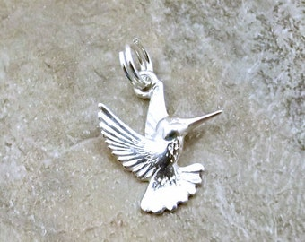 Sterling Silver Hummingbird Charm on a Sterling Silver Split Ring - 1022