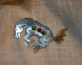 Vintage Sterling Silver Horse Pin with Turquoise and Coral Accents