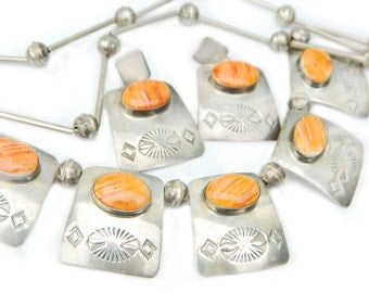Signed Begay Navajo Jewelry 1930's Necklace Earrings Native American Sterling Silver Orange Spiny Oyster Southwestern Rare Old Pre WWII
