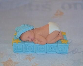 Custom baby boy on blocks cake topper