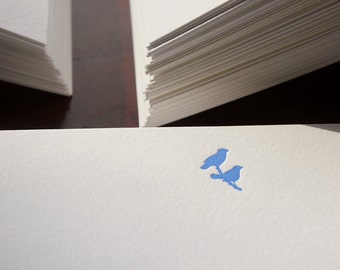 Flat Card Set with Letterpress Birds