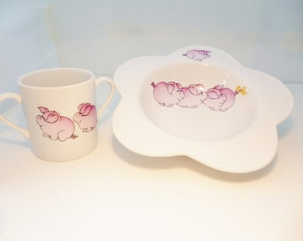 "plate and mug for children in China ""the three little pigs"""