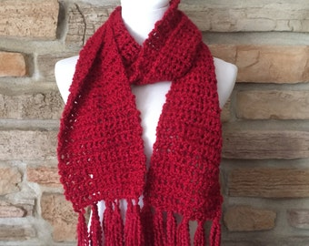 Christmas red scarf womens crochet neck warmer with tassels