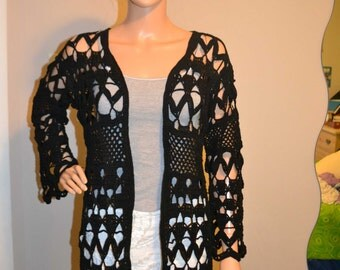 Beautiful Crazy Night Custom Made Cotton Size Hand Crocheted Sweater - Sizes 0 to 20