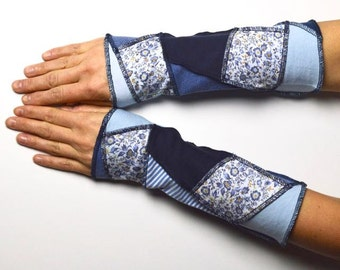 Mittens Arm Warmers patchwork repurposed upcycled recycled unique piece wrist warmer