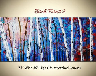 Large Birch Trees painting, Abstract painting painting, Forest painting, Landscape painting, Blue painting, Canvas art, Size 72'' x 30''