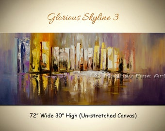 Large art on canvas, Original abstract art, Cityscape art, Acrylic painting, art on canvas by Madhav - Size: 72'' x 30'' (183cm x 76cm)