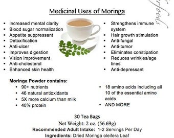 Simply Natural Organic Moringa Oleifera Herbal Tea (30 Tea Bags)