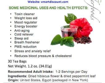 Simply Natural 100% Organic Hibiscus Flower Peppermint Leaf Herbal Tea, 30 Tea Bags – Caffeine-Free