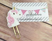 Pink/Gold/Unicorn/Sparkle Applique Paper Clip/Planner Clip/Journal Marker/Bookmark