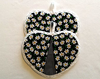 Heart Shaped Pot Holders, Pot Holders, Hot Pads, Oven Mitts