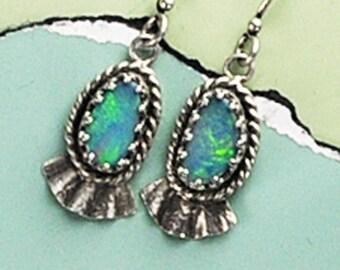 Opal Earrings, Sterling Silver and Opal Earrings, Blue Green Earrings, Opals, Opal Doublet Earrings, Designer Opal Earrings, Handmade