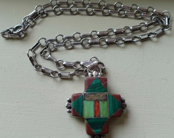 Vintage T. Bennally Sterling Pipestone Malachite Turquoise and Coral Cross Pendant