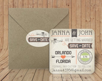 Save the Date Coasters - Craft paper envelopes